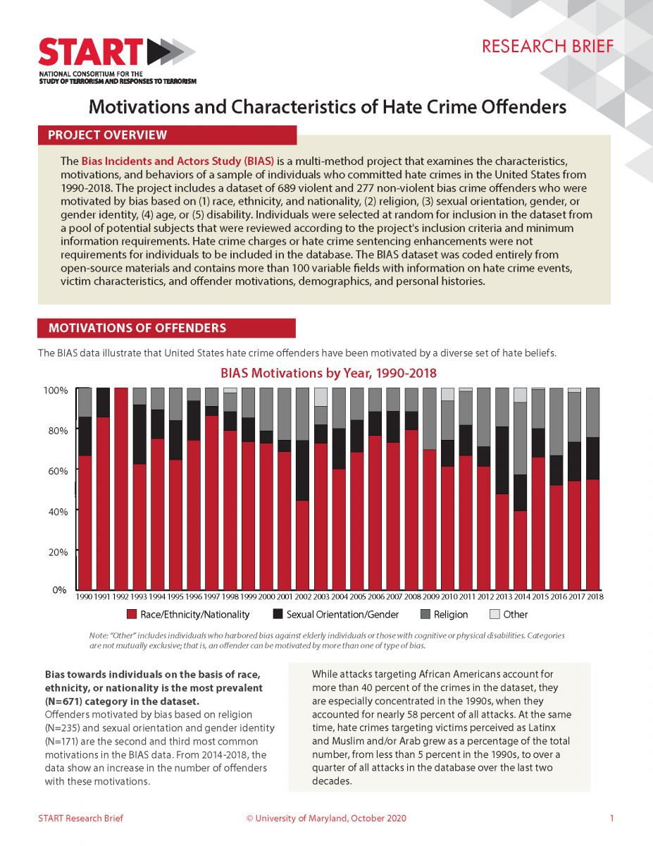 First page of Motivations and Characteristics of Hate Crime Offenders